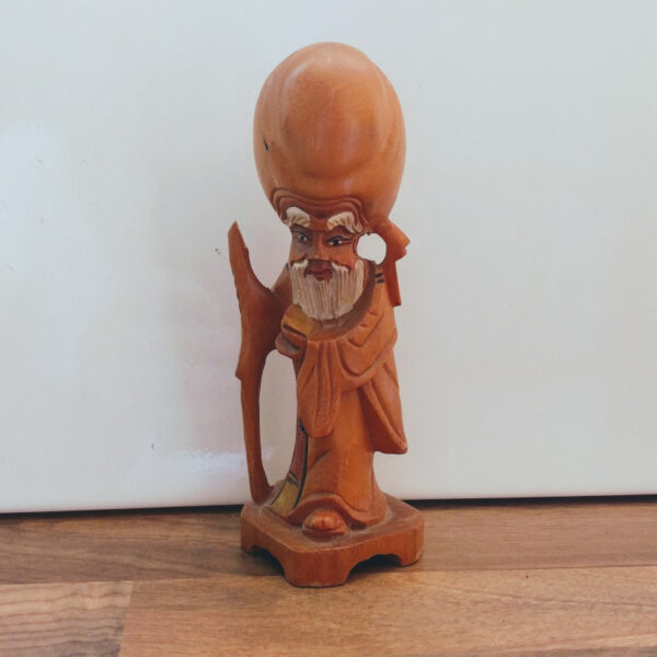 Vintage houten beeldje taoïstische wijsgeer Shou Xing 2