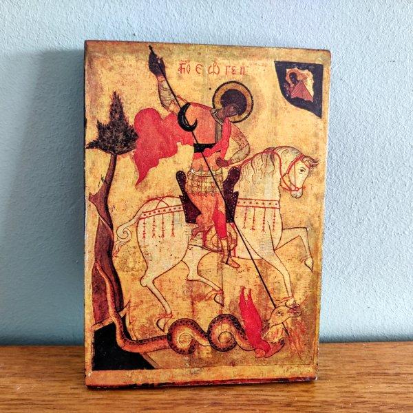 Reproductie Russische icoon Sint Joris overwint het kwaad (Novgorod 14de eeuw) 1